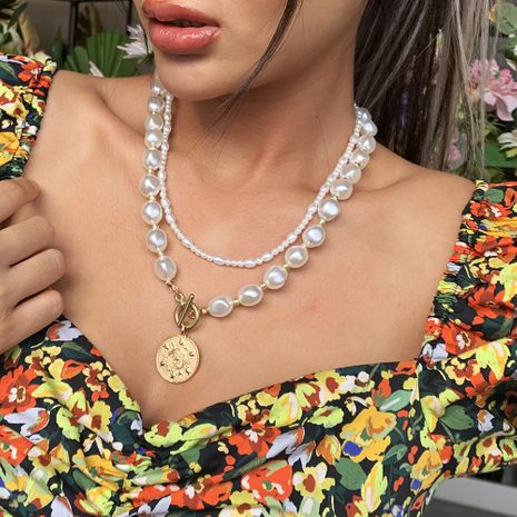 hot sale shaped pearl double-layer long necklace simple cute round pendant fashion style wholesale nihaojewelry NHMD232225's discount tags