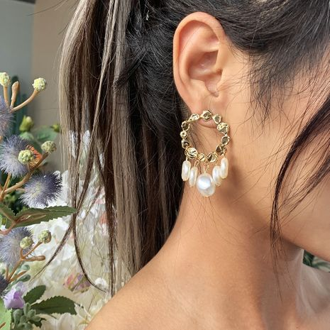 fashion simple round alloy multi-layer pearl tassel earrings  wholesale nihaojewelry NHMD232230's discount tags