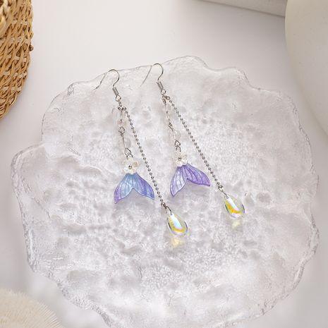 coréen nouvelle mode Fishtail longue frange frais violet boucles d'oreilles style rétro boucles d'oreilles en gros nihaojewelry NHMS232235's discount tags
