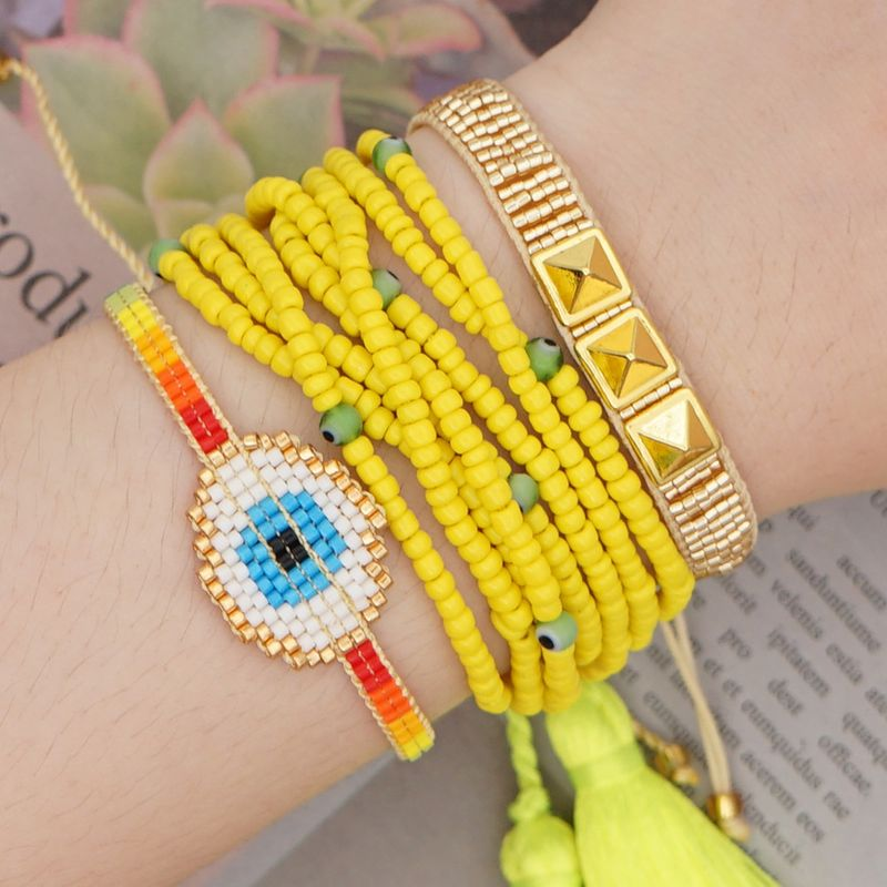 Miyuki rice beads weave rainbow eyes tassel handmade jewelry fashion national style beaded bracelet wholesale nihaojewelry NHGW232249
