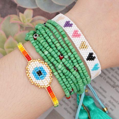 Moda arco iris amor pulsera de estilo nacional Miyuki cuentas de arroz ojo azul joyería hecha a mano al por mayor nihaojewelry NHGW232250's discount tags