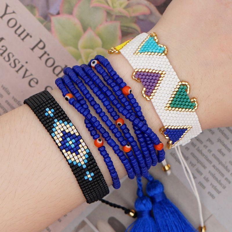 Summer rainbow multi-layer tassel beaded bracelet Miyuki rice beads woven handmade jewelry wholesale nihaojewelry NHGW232252