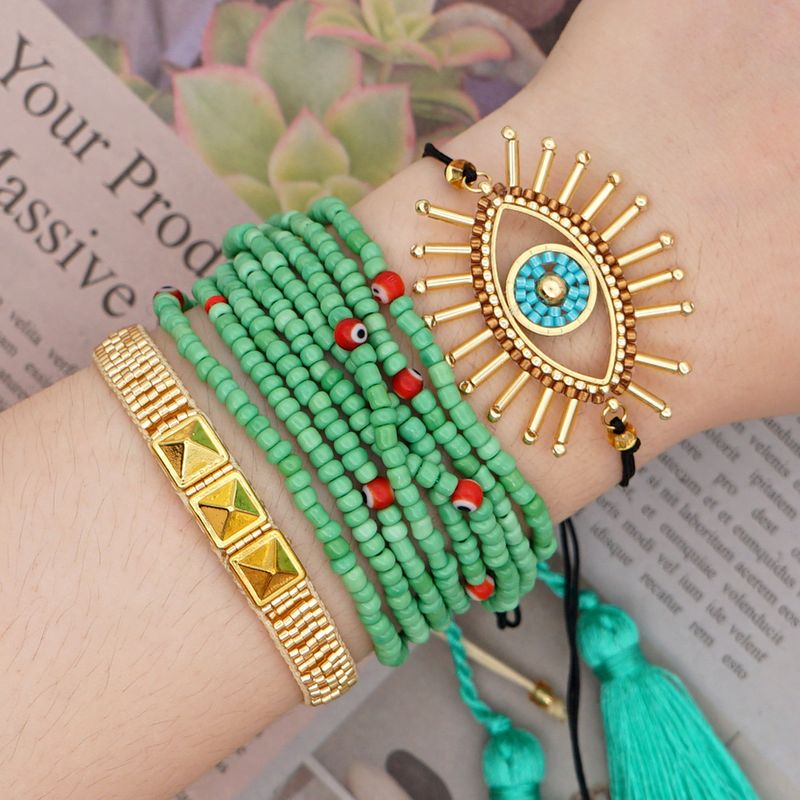 Summer multi-layer tassel beaded rivet bracelet Miyuki rice beads woven handmade jewelry wholesale nihaojewelry NHGW232254
