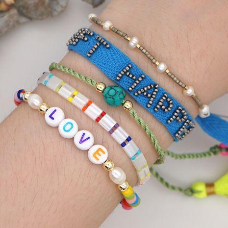 fashion tila rice beads bracelet summer beach wind rainbow letters handmade wholesale nihaojewelry NHGW232259's discount tags