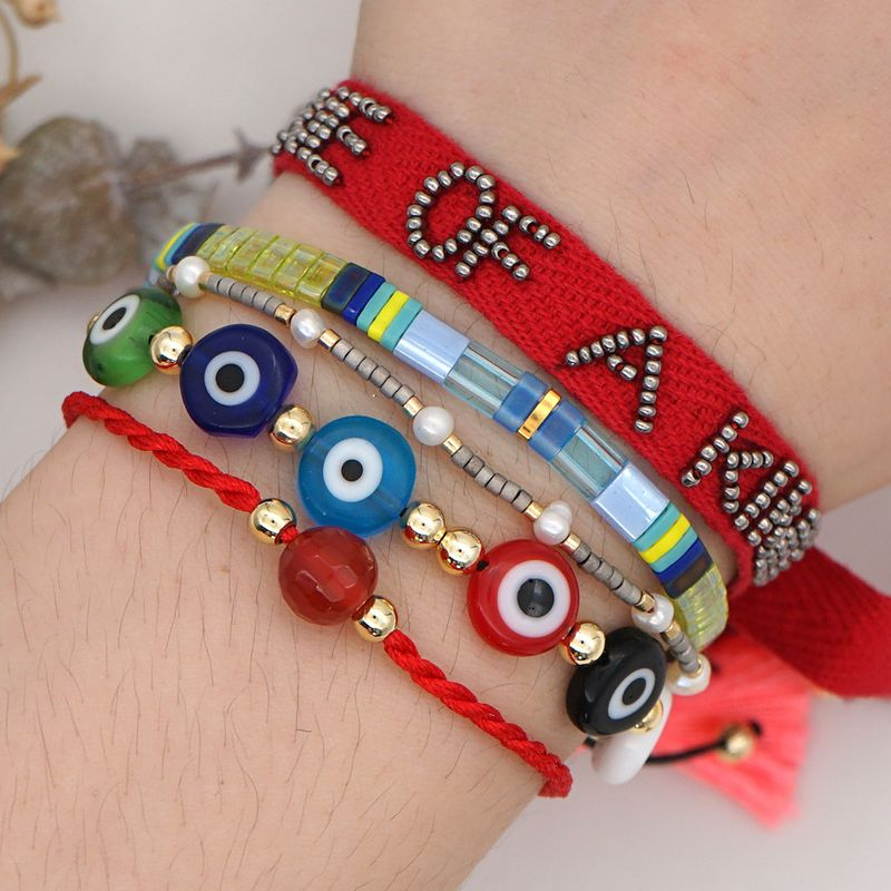 fashion rainbow tila rice beads bracelet summer beach style letters natural pearl woven handmade jewelry wholesale nihaojewelry NHGW232266