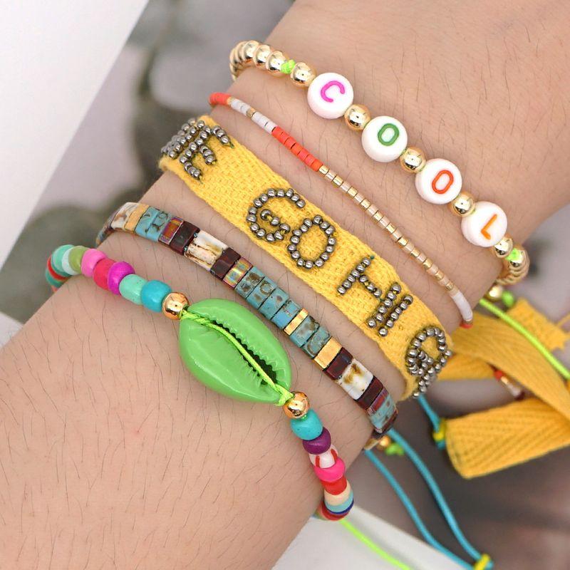 fashion tila rice beads woven alphabet ribbon handmade jewelry bohemian summer beach wind bracelet wholesale nihaojewelry NHGW232270