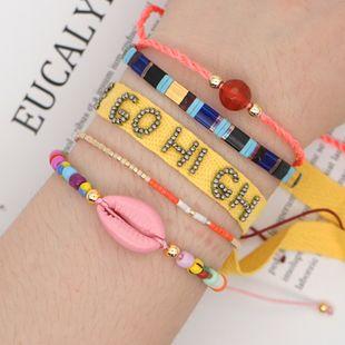 fashion tila rice beads woven letter ribbon bohemian summer beach natural shell bracelet wholesale nihaojewelry NHGW232274's discount tags