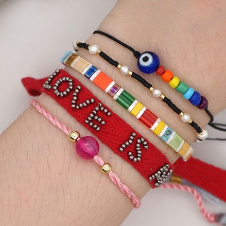 fashion summer beach style natural pearl rainbow tila rice beads woven alphabet ribbon bracelet wholesale nihaojewelry NHGW232275's discount tags