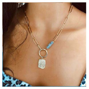 exaggerated metal single-layer necklace fashion square chain necklace wholesale nihaojewelry NHCT232283's discount tags