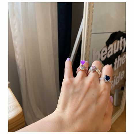 Korea hand-made crystal beaded love pearl ring simple wild ring wholesale nihaojewelry NHYQ232290's discount tags