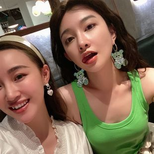 flash diamond animal cartoon bear poodle puppy earrings sparkling full of diamonds exaggerated silver needle earrings wholesale nihaojewelry NHYQ232301's discount tags