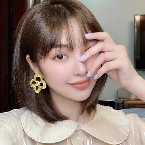 fun poker tricolor flowers peach heart cute earrings color rhinestone fashion wild earrings wholesale nihaojewelry NHYQ232303's discount tags