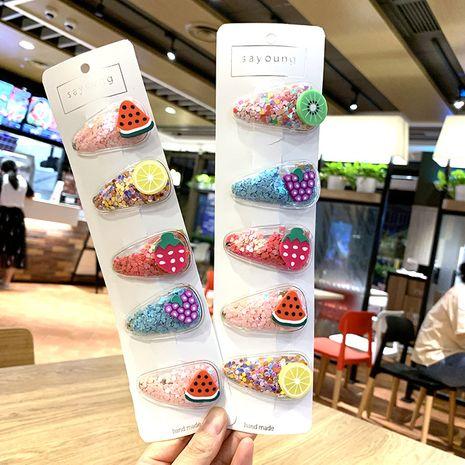 Nuevos accesorios para el cabello para niños de Corea niñas color arenas movedizas pinza de pelo BB de fruta fresca transparente al por mayor NHSA232307's discount tags