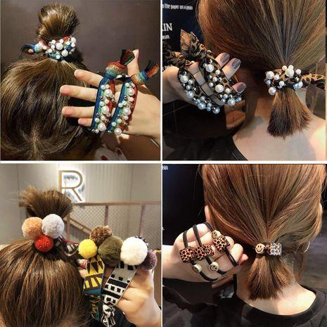 Corée du Sud en forme de léopard carré disque plein de diamant cheveux corde à la mode cheveux bon marché chouchous en gros nihaojewelry NHSA232326's discount tags