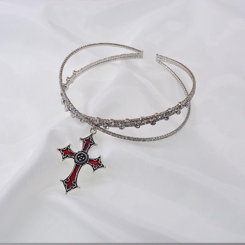 new Korean rhinestone cross collar necklace neck chain neck collar wholesale nihaojewelry NHNT232330