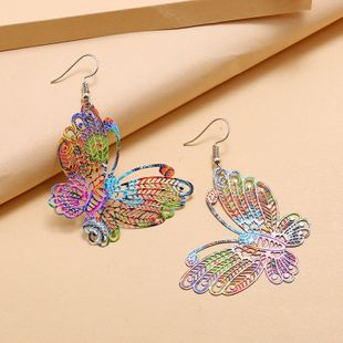 fashion creative color spray paint earrings retro exaggerated hollow butterfly earrings wholesale nihaojewelry NHKQ232332's discount tags