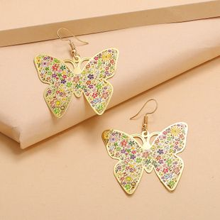 Simple trend metal enamel painted earrings exaggerated wild hollow butterfly earrings wholesale nihaojewelry NHKQ232333's discount tags