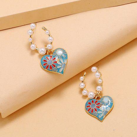 douce perle goutte huile amour boucles d'oreilles mode coréenne rétro exagéré élégant boucles d'oreilles sauvages en gros nihaojewelry NHKQ232334's discount tags
