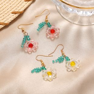 Korea Super Fairy Color Transparent Beaded Flower Earrings Fashionable Cute Earring wholesale nihaojewelry NHKQ232335's discount tags
