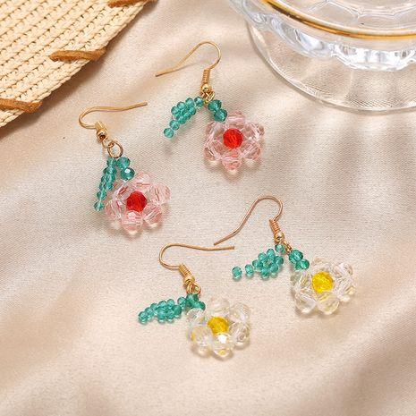 Korea Super Fairy Color Transparent Beaded Flower Earrings Fashionable Cute Earring wholesale nihaojewelry NHKQ232335's discount tags