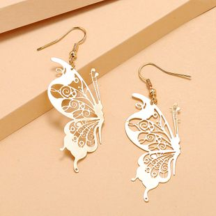 Simple trend alloy exaggerated earrings fashion retro  hollowed out butterfly earrings wholesale nihaojewelry NHKQ232337's discount tags