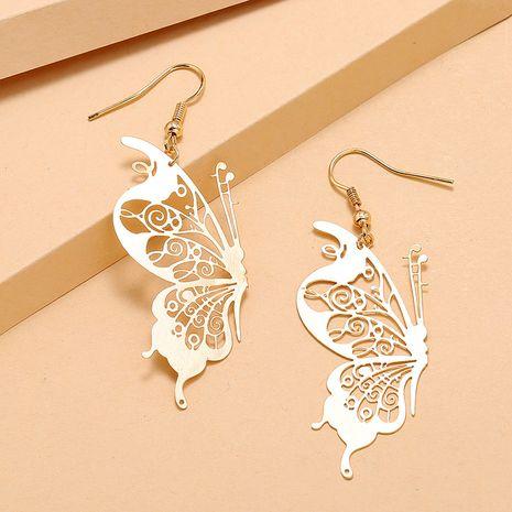 Simple tendance alliage exagéré boucles d'oreilles mode rétro évidé boucles d'oreilles papillon en gros nihaojewelry NHKQ232337's discount tags