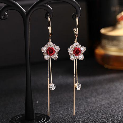 new Korean earrings rose long tassel earrings Mori system immortal flower zircon 925 silver needle earrings wholesale nihaojewelry NHDO232341's discount tags