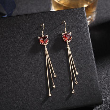 new trendy long fox tassel earrings retro earrings 925 silver needle earrings wholesale nihaojewelry NHDO232346's discount tags