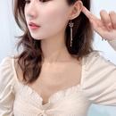 new trendy long fox tassel earrings retro earrings 925 silver needle earrings wholesale nihaojewelry NHDO232346