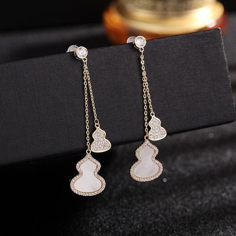 fashion jewelry silver needle gourd earrings Korean long tassel texture earrings wholesale nihaojewelry NHDO232354's discount tags