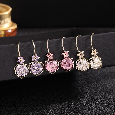 Nouveau de haute qualité 925 argent aiguille zircon fleur creux rose boucles d'oreilles bijoux populaires en gros nihaojewelry NHDO232355's discount tags