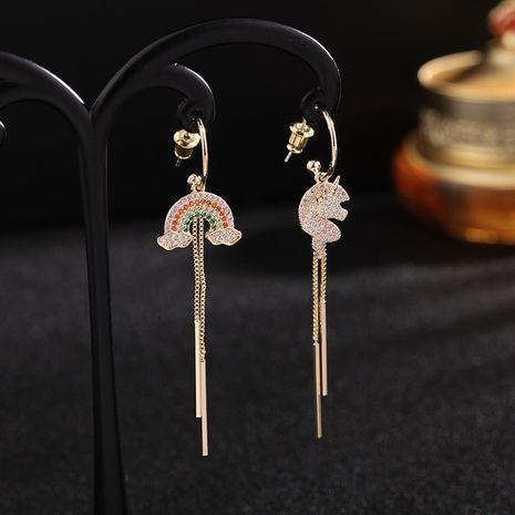new fashion  asymmetric rainbow long  S925 silver needle fashion earrings  wholesale nihaojewelry NHDO232360's discount tags