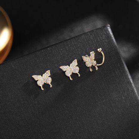 nouveau super fée douce oreille clip petit papillon boucles d'oreilles aiguille d'argent trois pièces oreille oreille clip en gros nihaojewelry NHDO232365's discount tags