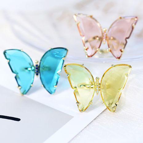 Mode coréenne nouvelle bague simple papillon en verre ouverture anneau réglable mode gros nihaojewelry NHDO232366's discount tags