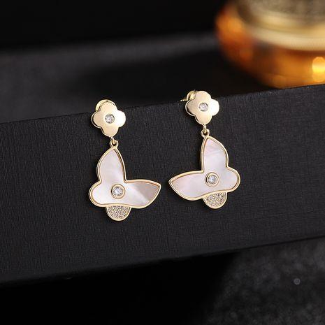 Korean new butterfly shell earrings S925 silver needle simple ear jewelry wholesale nihaojewelry NHDO232370's discount tags