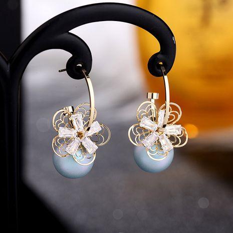 Korea pearl earrings 925 silver needle flower opal earrings zircon earrings wholesale nihaojewelry NHDO232371's discount tags