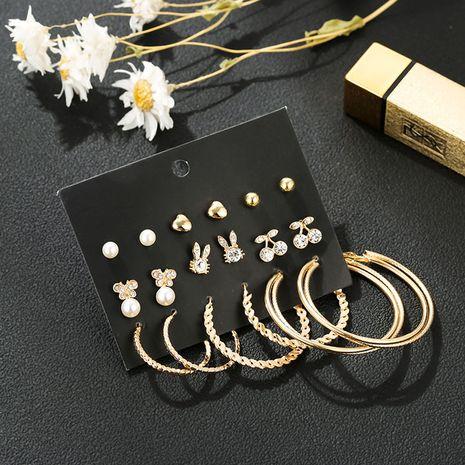 Coréen mignon lapin boucles d'oreilles diamant combinaison ensemble créatif boucles d'oreilles cercle d'amour en gros nihaojewelry NHSD232372's discount tags