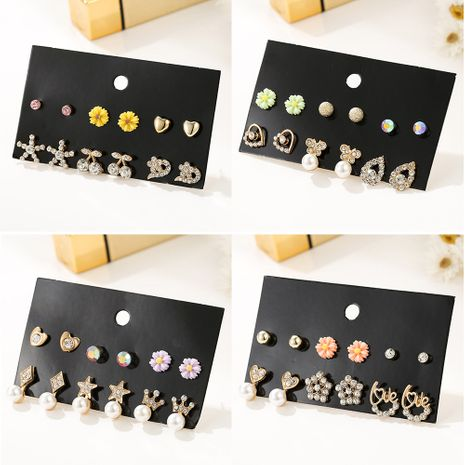 6 pairs of combination earrings new diamond earrings golden ear jewelry wholesale nihaojewelry NHSD232375's discount tags