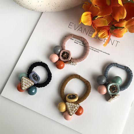 Triangle géométrique carré couleur bonbon mignon perle douce haute corde de cheveux élastique pas cher chouchous en gros nihaojewelry NHWF232383's discount tags