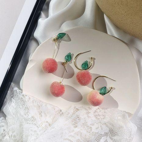 nouvelles boucles d'oreilles pêche 925 aiguille en argent doux mignon fille coeur flocage boucles d'oreilles pêche en gros nihaojewelry NHWF232387's discount tags