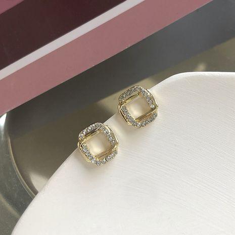 Coréen populaire bijoux géométrique rectangulaire croix boucles d'oreilles délicat petit micro-set zircon boucles d'oreilles en gros nihaojewelry NHWF232402's discount tags