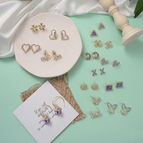 fashion simple korean new purple  butterfly flower love diamond earrings wholesale nihaojewelry NHWF232409's discount tags