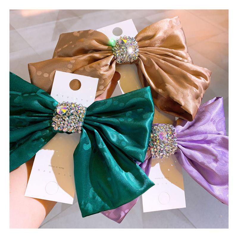 Korea fashion  retro little fairy wind silk full diamond big bow  clip nihaojewelry wholesale NHHD232426
