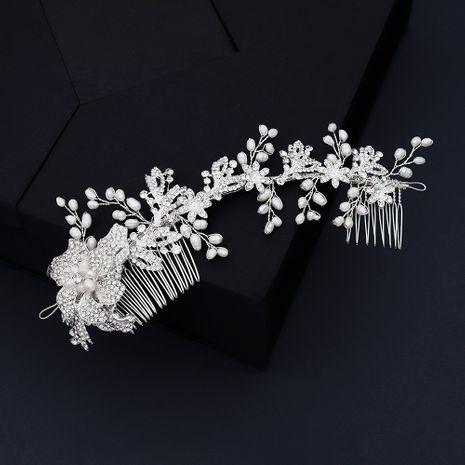 style de mariage tissé strass insert peigne naturel perle cheveux ornement alliage fleur paire peigne en gros nihaojewelry NHHS232434's discount tags