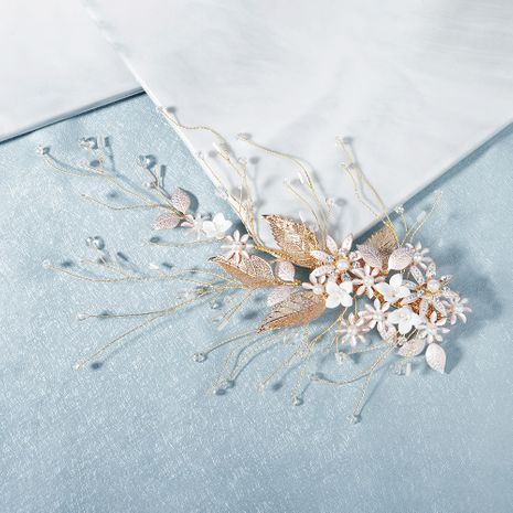 Handmade jewelry super fairy beautiful side clip golden flower hairpin bride headdress wholesale nihaojewelry NHHS232436's discount tags