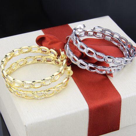 vente chaude cuivre galvanoplastie incrusté chaîne de zirconium mode boucles d'oreilles populaires en gros nihaojewelry NHBP232438's discount tags