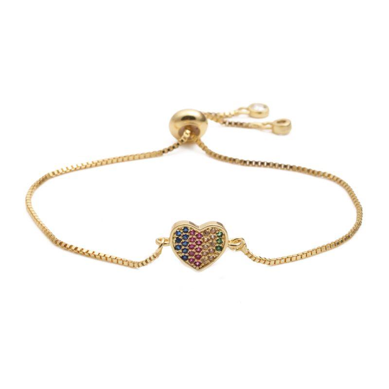 fashion jewelry copper micro inlay zirconium love adjustable bracelet wholesale nihaojewelry NHYL232451