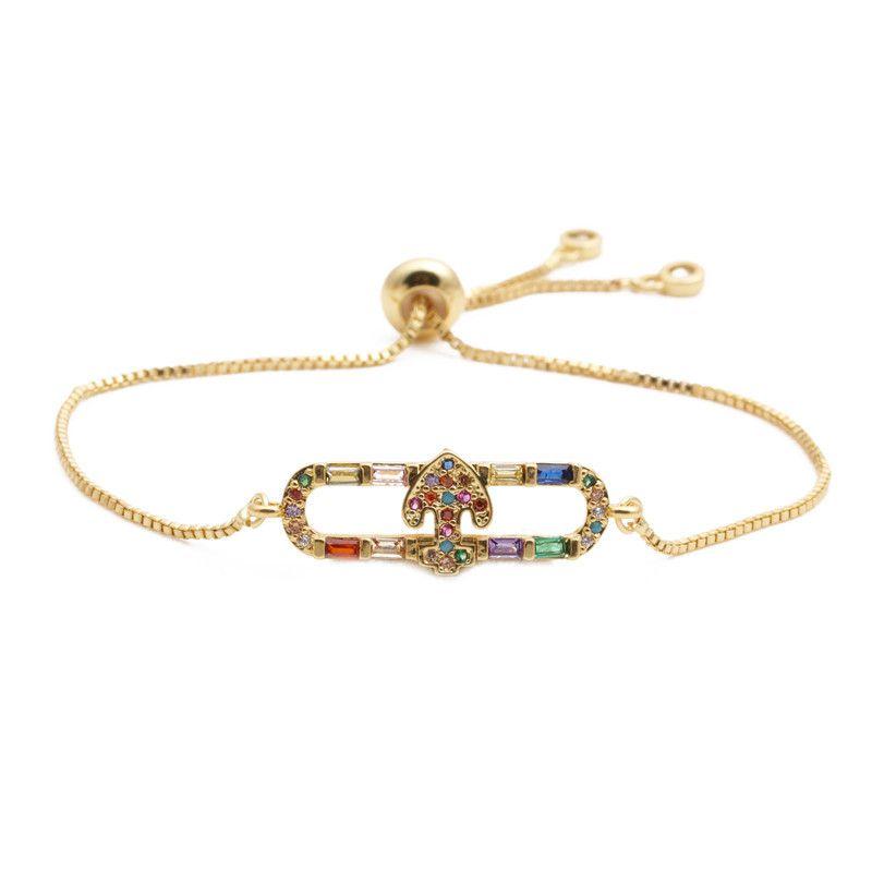 fashion jewelry copper micro-set zirconium oval arrow adjustable men and women bracelet wholesale nihaojewelry NHYL232458