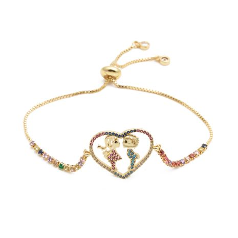 fashion jewelry copper micro inlay zirconium couple love adjustable bracelet Valentine's Day gift wholesale nihaojewelry NHYL232465's discount tags