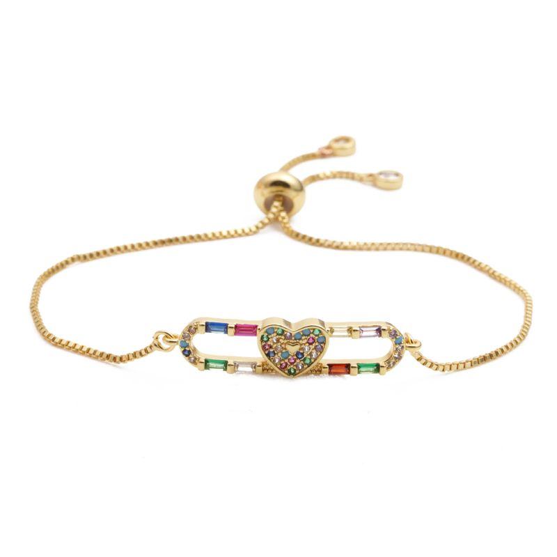 fashion jewelry copper micro-set zircon love adjustable ladies bracelet Valentine's Day gift wholesale nihaojewelry NHYL232468